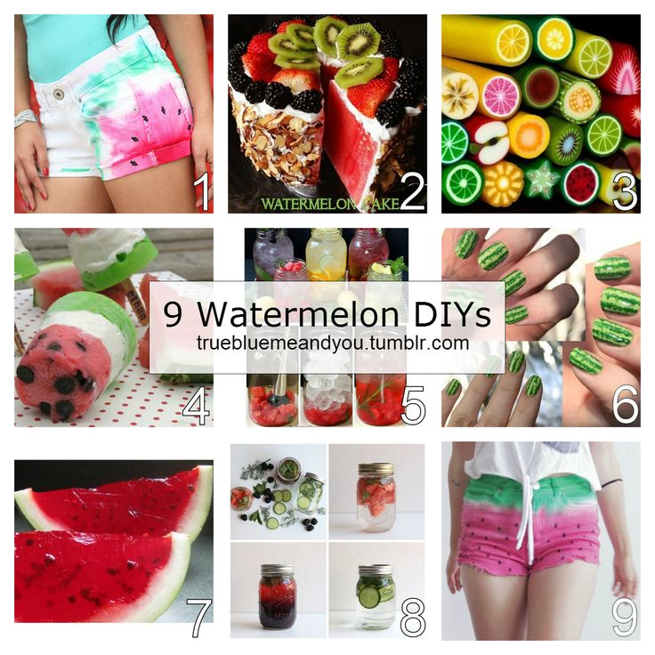 9 Summer Watermelon DIYs from truebluemeandyou. Watermelon Shorts from I Love to Create here. Watermelon Cake with Whipped Coconut Milk Cream Recipe from Paleo Cupboard here. Polymer Clay Fruit Canes and where to buy them here. Watermelon Pudding...
