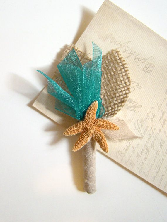 Starfish Boutonniere Beach Wedding Custom Color by TwiningVines