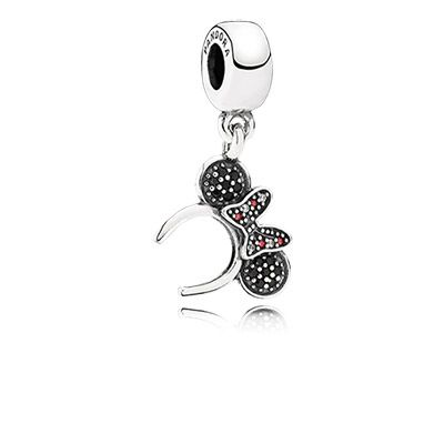 PANDORA | Disney Minnie headband silver dangle with black crystal, red and clear cubic zirconia
