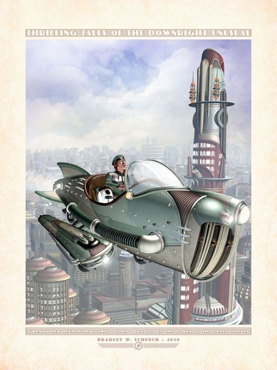 Gwen in Her Hepmobile Rocket by Bradley W. Schenck