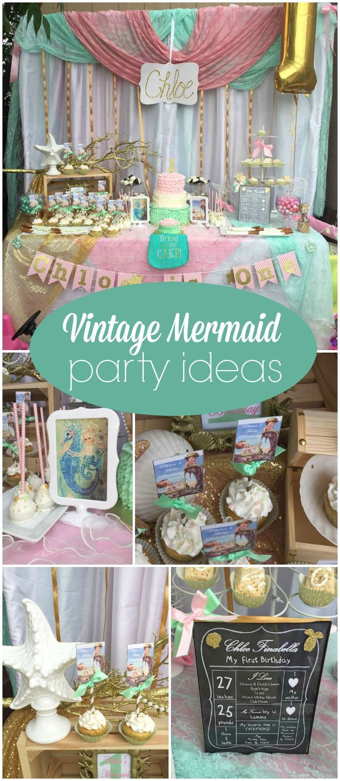 "Vintage / Retro mermaid / Birthday ""Chloe's vintage ..."