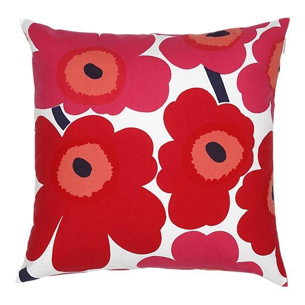Marimekko Pieni Unikko Red Pillow from Crate & Barrel