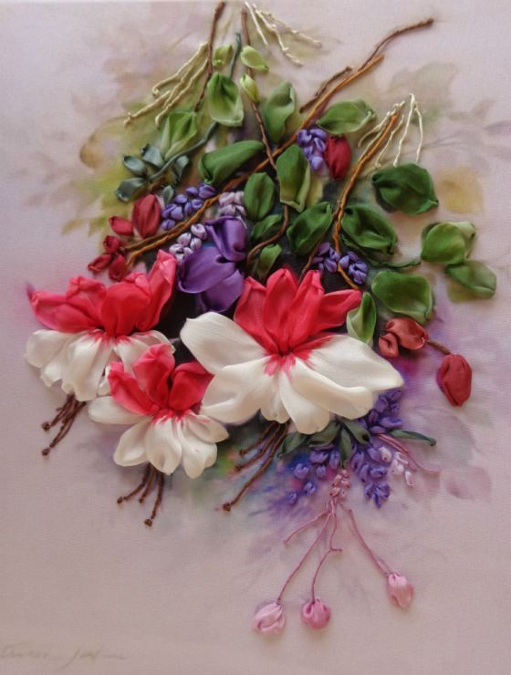 Gallery.ru / Bouquet with fuchsias - Embroidery tapes Part 3 - silkfantasy