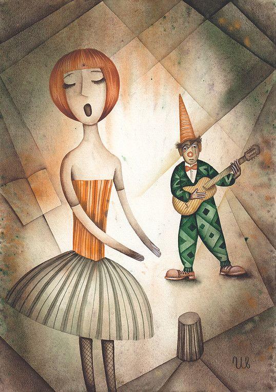 Elegy for a clown by Eugene Ivanov #cirque #circus #clown #clownery #illustration #eugeneivanov #@eugene_1_ivanov