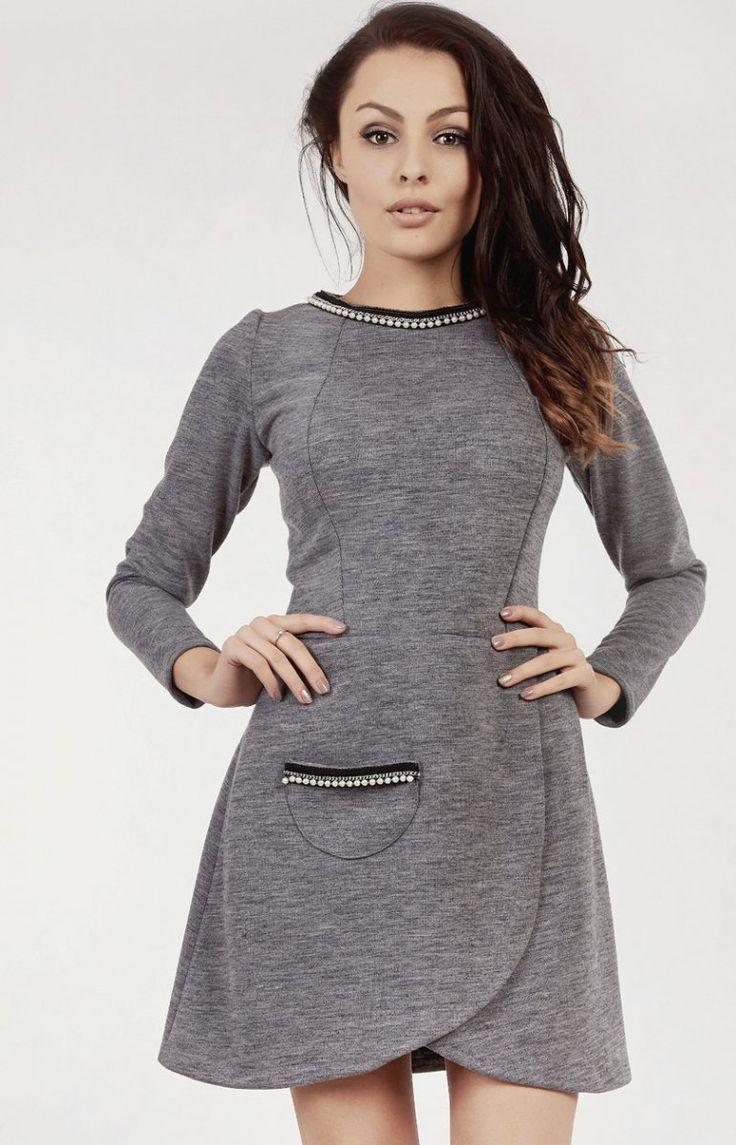 Milu MP55 sukienka Elegancka sukienka, asymetryczny krój, długi rękaw