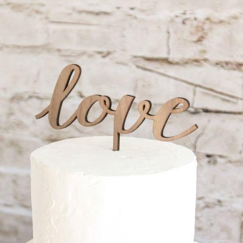 Love Script Wood Wedding Cake Topper