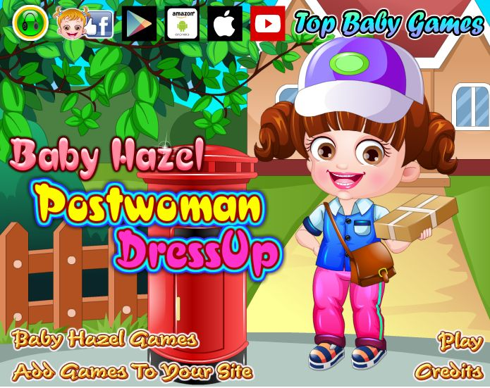 Baby Hazel, a new postwoman in the town has to deliver the letters and parcels. Can you dress her up quickly in stylish outfits and accessories and get her ready for her new job? http://www.topbabygames.com/baby-hazel-postwoman-dressup.html