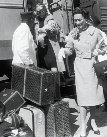 The Duchess of Windsor and her famous Goyard luggage in Florida, 1956