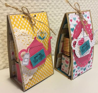 Laura's Creative Moments ~ You're Tea-riffic gift box holds tea, sweetener, wrapped chocolate or bisquits, spoon, napkin, tea bags ~ very cute gift.