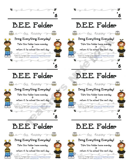 FREE! BEE Folder- A CUTE way to set up your students take home folder! Mary this would be cute for your class