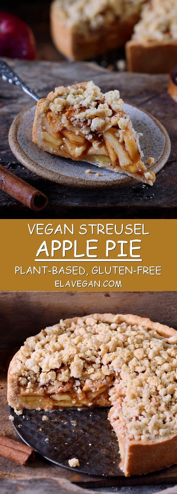 This vegan apple pie with streusel is the perfect fall dessert. The recipe is ve…