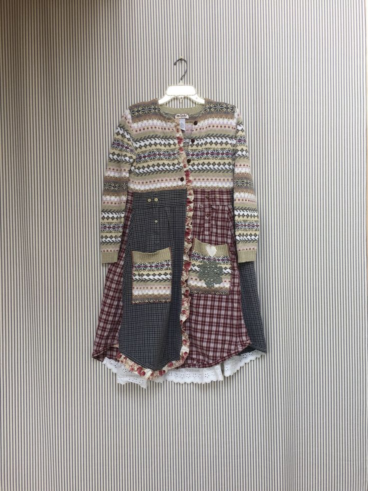 A personal favorite from my Etsy shop https://www.etsy.com/listing/540034564/upcycled-sweater-jacket-long-sweater