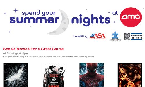 This summer AMC is offering $3 movie tickets for special showtimes Monday-Wednesday. Ticket sales of AMC's Summer Series will additionally go to benefit Autism Speaks. Check out their website! http://www.amctheatres.com/programs/summer-movie-nights
