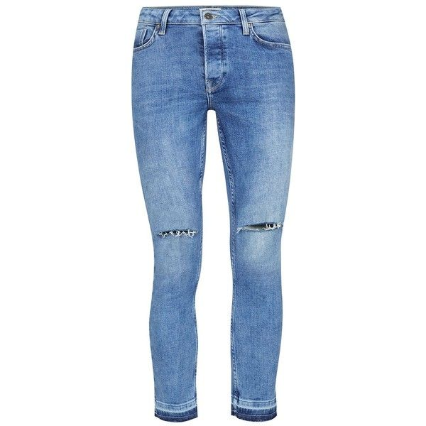 TOPMAN Light Wash Blue Ripped Raw Edge Spray On Skinny Jeans (€46) ❤ liked on Polyvore featuring men's fashion, men's clothing, men's jeans, blue, mens blue jeans, mens light wash jeans, mens destroyed jeans, mens ripped skinny jeans and mens torn jeans