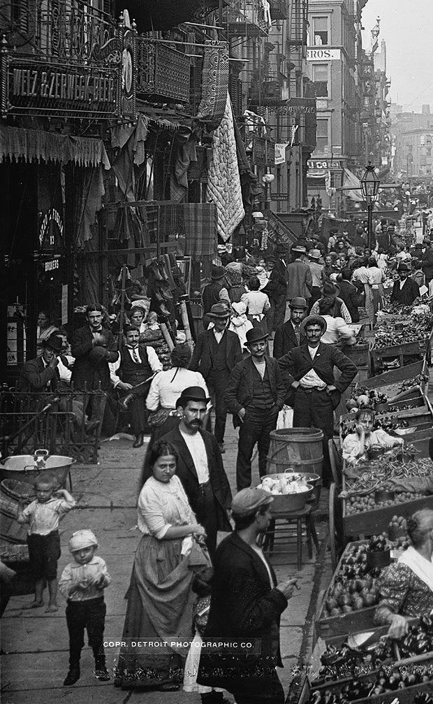 STREET SCENE: Italian Immigrants at, 5364 Mulberry Street, New York City c.1900