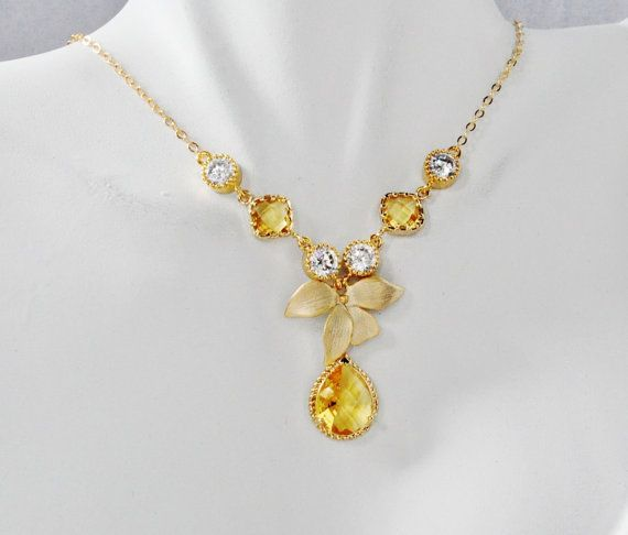Bezel Set Yellow Jonquil Crystal stonewith Orchid Flower Gold Necklace,Yellow Bridesmaids Sets, Birthday gift