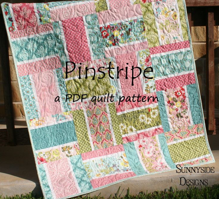 For a baby quilt 38.5″x48″ it requires 20 10inch squares (or half of a layer cake), 1/3 yard for pinstripe, 1/2 yard for binding, and 1.5 ya...