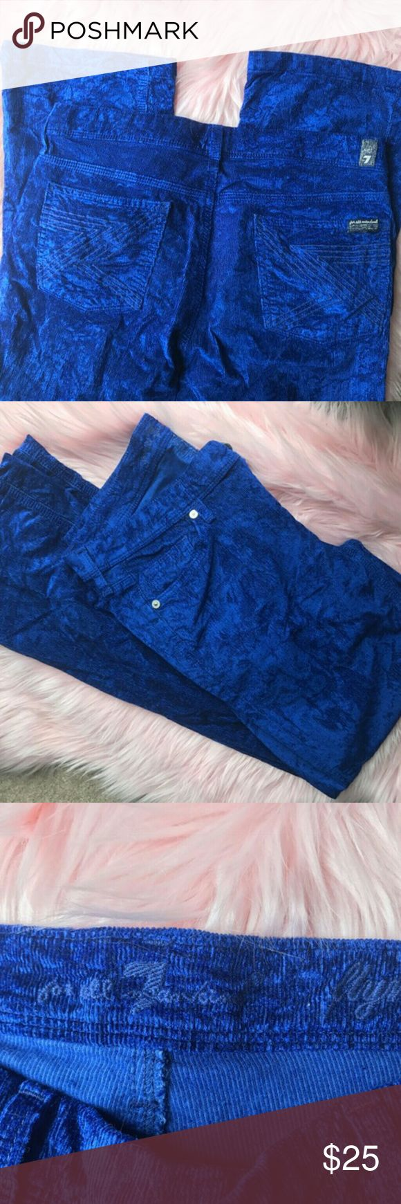 7 for All Mankind Electric Blue Flynt cords size 2 Not your typical cords, these electric blue pants add pizzazz to your outfit. 7 For All Mankind Pants Straight Leg