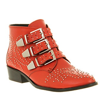 Office NIGHTHAWK STUD RED LEATHER Shoes - Womens Ankle Boots Shoes - Office Shoes