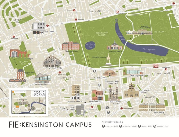 Foundation for International Education Illustrated Campus Map & Canvas, Kensington Palace, Royal Albert Hall, Design Museum, Victoria & Albert Museum, Natural History Museum, Royal Geographical Society, Saachi Gallery, The Orangery and, Leighton House Museum, illustrated map, gate cinema, notting hill