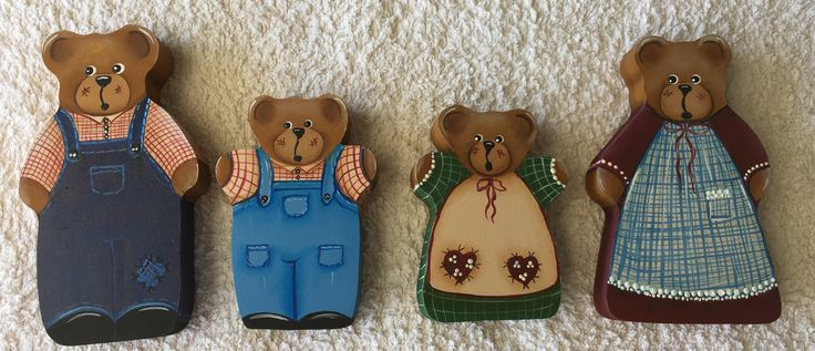 There are 4 bears to this set. All hand painted freestyle. Set includes: Mother 10.5cm high x 6.2cm wide, Papa 11cm high x 6.2cm wide, Boy 8.2cm high x 5.8cm wide, and Girl 7.5cm high x 5.5cm wide. Bears are made from craft wood and are all self standing the base measures 1.6mm deep They are made from craft wood and are varnished and can withstand normal wear and tear.