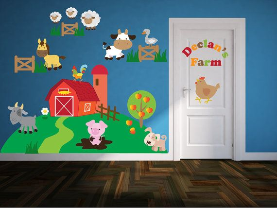Farm Theme Nursery Art Name Wall Decal Kids