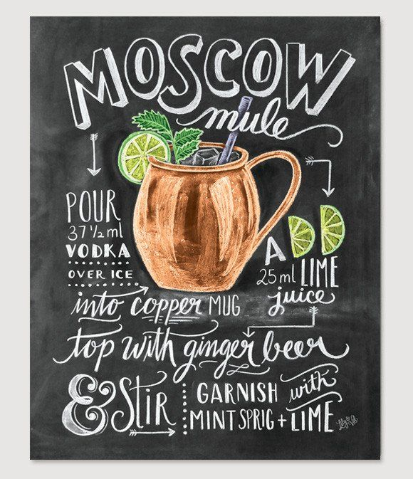 http://amzn.to/2fZ39kj Famous for its crisp, refreshing taste and its signature copper mug, the Moscow Mule is an all-time classic. While the recipe print will bring just the right amount of cool to your bar cart, the cockt