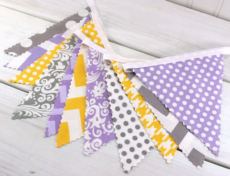 Bunting, Banner, Fabric Flags, Baby Girl Nursery Decor, Photography Prop, Garland - Lavender, Purple, Gray, Yellow, Grey, Chevron, Damask by thespottedbarn on Etsy https://www.etsy.com/listing/190761077/bunting-banner-fabric-flags-baby-girl