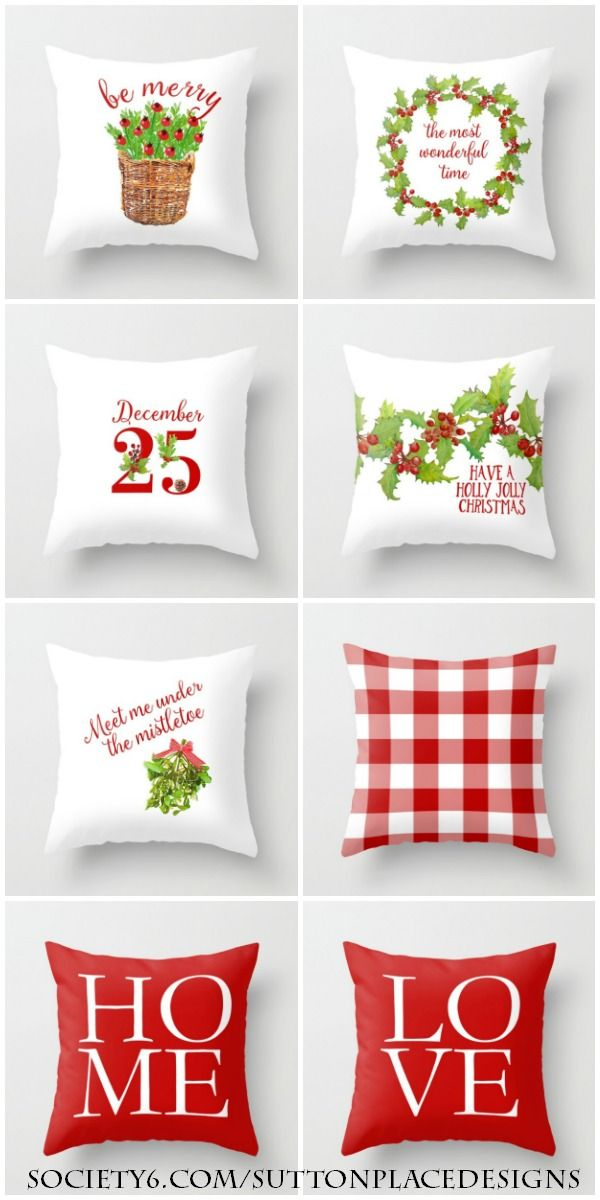 Christmas Pillow Covers | Sutton Place Designs on Society6. Basket of red berries holly