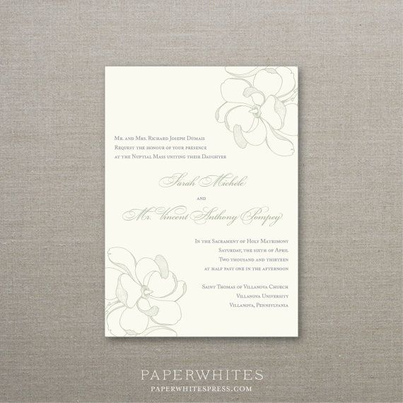 Magnolia Wedding Invitation Deposit to Get by paperwhitespress, $100.00