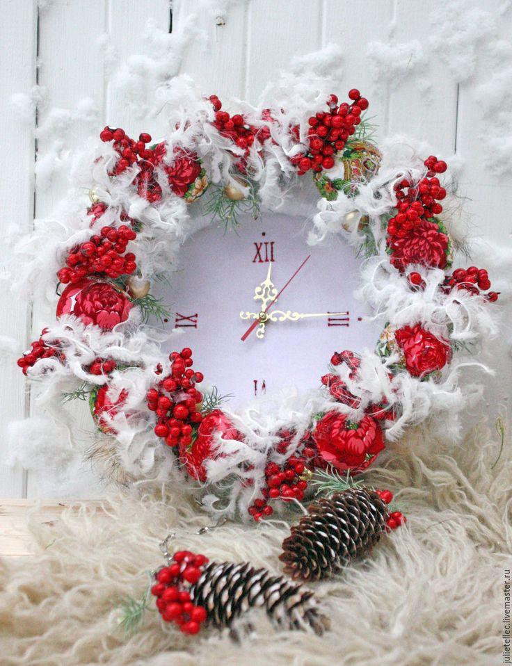 Купить Зимние часы - ярко-красный, белый, настенные часы, зимний декор, декор дома