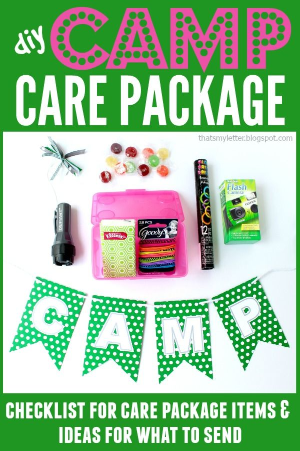 diy camp care package, care package checklist, camp gifts