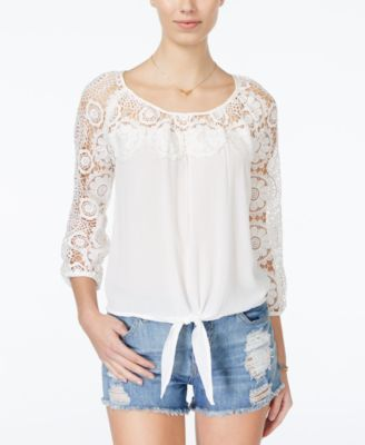 American Rag Crochet-Panel Top, Only at Macy's $37.99 Whimsical crochet-knit infuses American Rag's tie-front top with bohemian spirit.