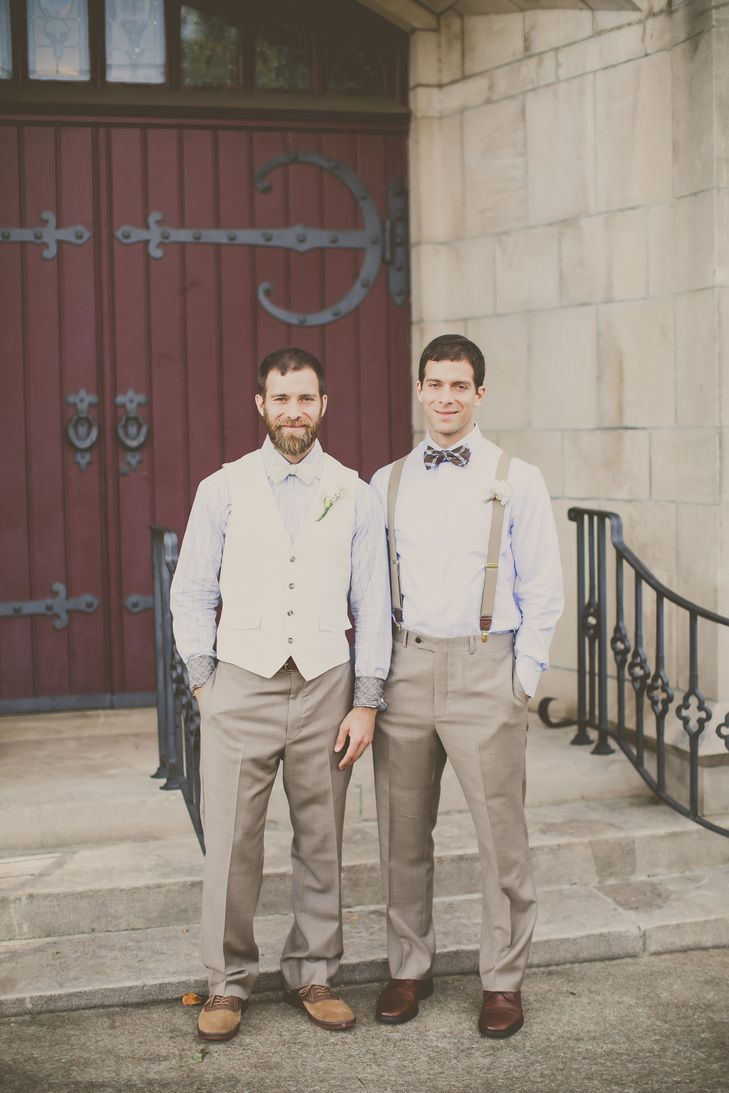 Casual Khaki Groom and Groomsmen Attire with Suspenders  | Janet Howard Studio | http://knot.ly/6498BFXlM | http://knot.ly/6499BFXl3