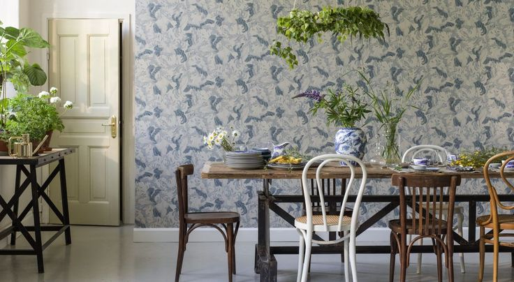 Falling head over heals with this wallpaper - Dancing Cranes by Emma von Brömssen at Scandimericanlife.com