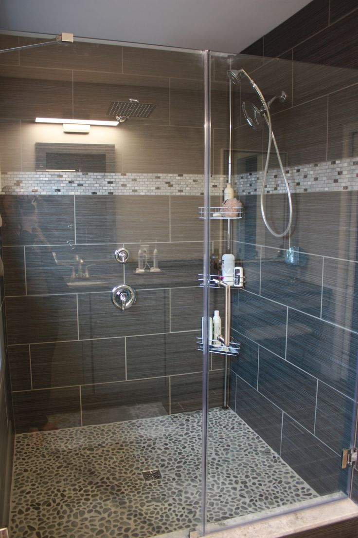 Charcoal Black Pebble Tile Black tile bathrooms, Gray