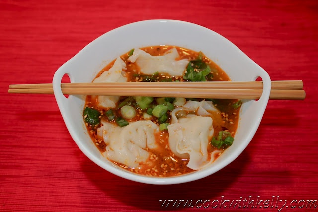 wonton soup in spicy sauce... more ideas to use wonton wrappers