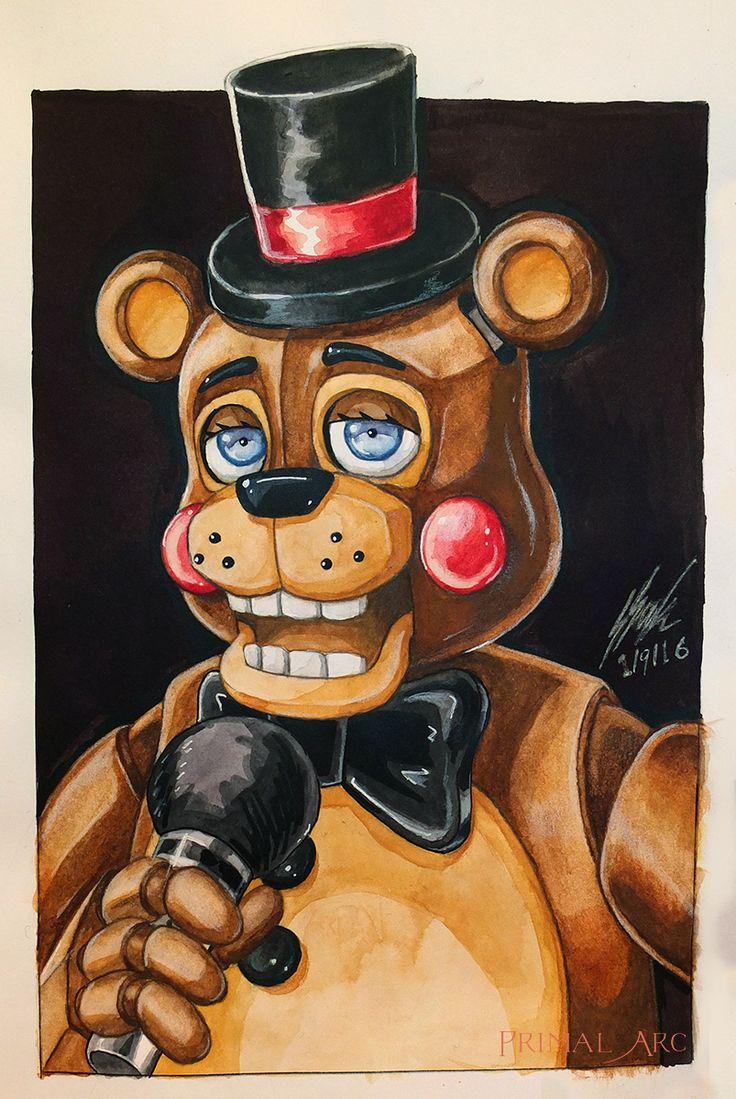 'Toy Freddy', watercolour. #fnaf #fivenightsatfreddys