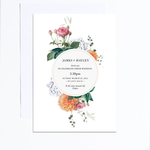 Vintage Botanical Wedding Invitations vintage florals flowers old rustic pretty chic glam rose pink peach orange garden wedding stationery perth melbourne sydney adelaide sail and swan