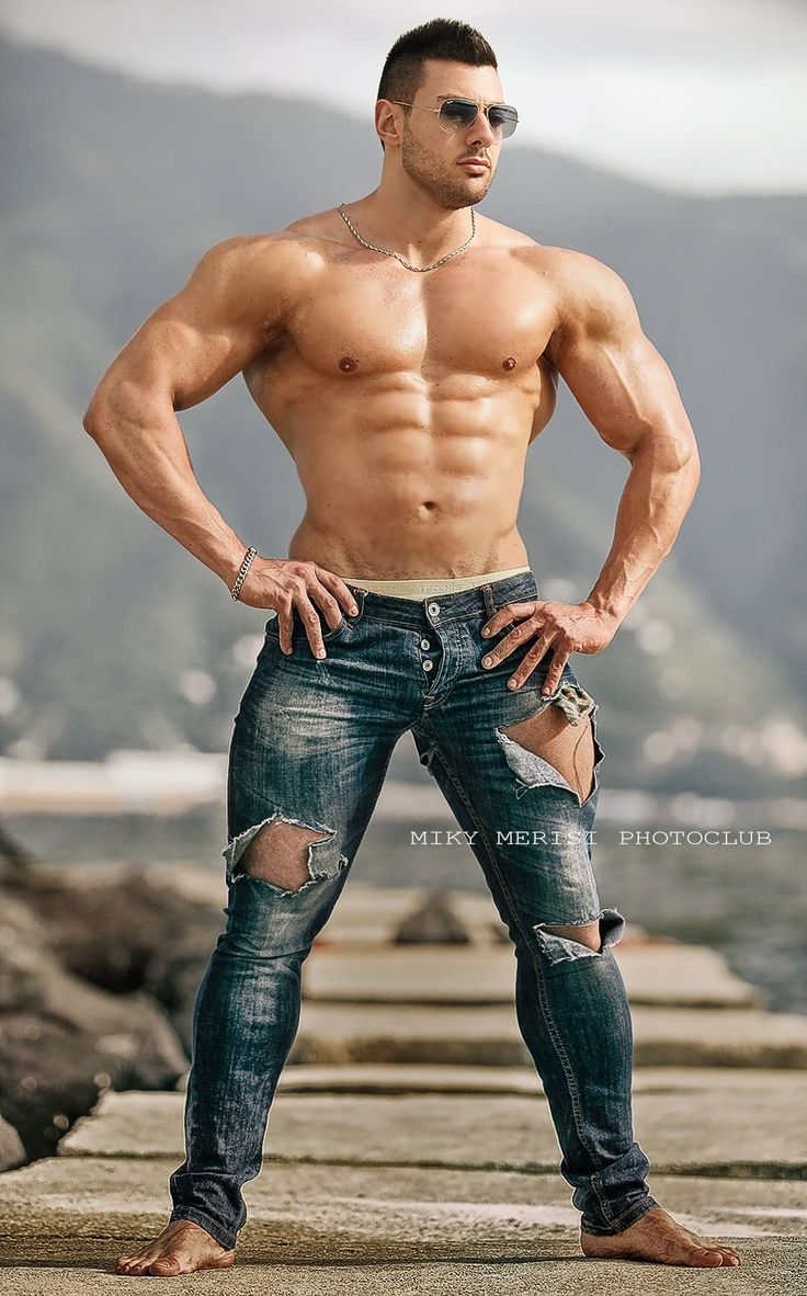 Pin By Nae Tsm2 On Distressed  Ripped Jeans  Muscle Men -2365