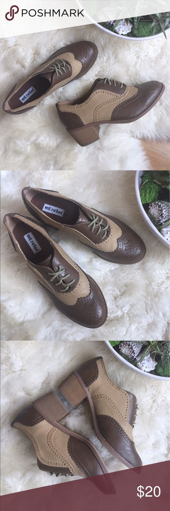 """Not Rated Taupe and Brown Oxfords Not Rated """"Blue Print"""" taupe and brown oxfords with a stacked, wooden heel. Barely worn. Women's size 6. See pictures for details! Not Rated Shoes Flats & Loafers"""