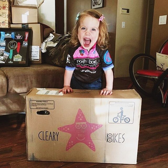"""She's stoked she got a Cleary Bike. I feel the way she looks because it's FRIDAY!!!! Seriously though... That face! Omg - I'm excited and happy just looking at her! RepostBy @adv_w_grom: """"#tbt to Groms first #newbikeday the stoke level was (and still is) very high."""" . . . #thegirlwiththeladybughelmet #outdoorfamilies #clearybikes #moregirlsonbikes #morekidsonbikes #ridelikeagirl #rideyourbike #clearystarfish #clearykid #raiseriders #toolsnottoys #kidsbike"""