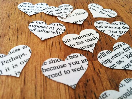 Throw Your Hands in the Air    Shower guests with joy (and the not-so-secret belief you're living a love story) using literary confetti cut from harlequin novels and classics like Wuthering Heights.