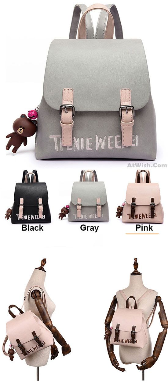 which color do you like? Cute Frosted PU Letters Embroidery Belt Flap Gift Bell Doll Small Lady School Backpacks #backpack