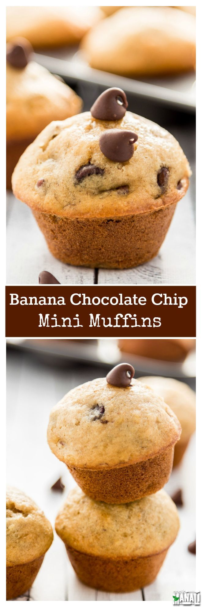 Super Moist Bite-Size Banana Chocolate Chip Mini Muffins are perfect for snacking! Find the recipe on http://www.cookwithmanali.com
