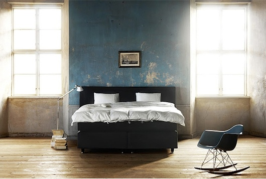 Lights, Rocks Chairs, Beds, Blue Walls, Interiors, Eames, Bedrooms, Distressed Wall, Painting