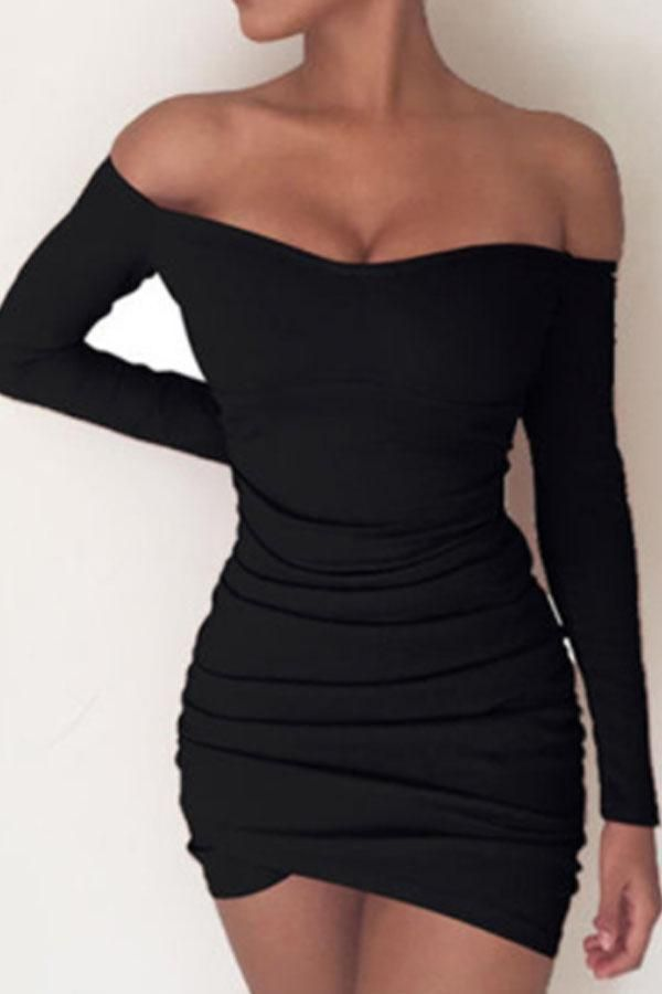 Off Shoulder Asymmetric Hem Plain Long Sleeve Bodycon Dresses Short Dresses Tight Long Sleeve Short Dress Long Sleeve Mini Dress