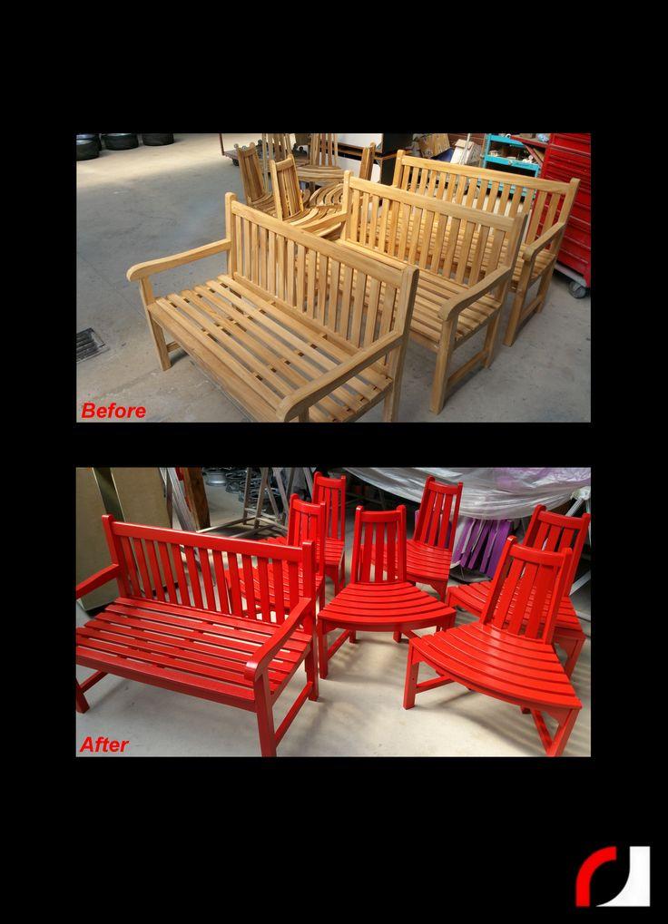 Houten bankjes en stoelen voor Spork Tuinmeubelen in de kleur rood (ral 3013) gespoten! #Spuiterij #meubelspuiterij #interieurspuiterij #interieur #meubels #verven #spuiten #restylen #renoveren #Parkstad #Heuvelland #Kerkrade #Limburg #Stoelen #Banken #tuinmeubels #rood