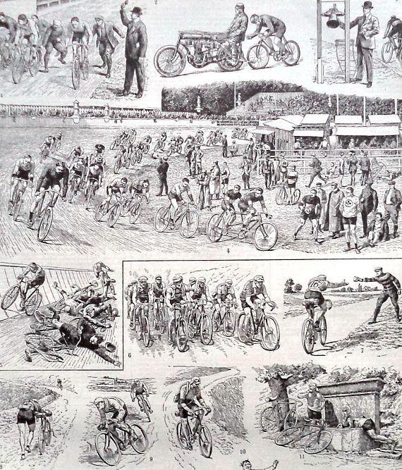 French Vintage CYCLING sport Engraving Print Cycling Print