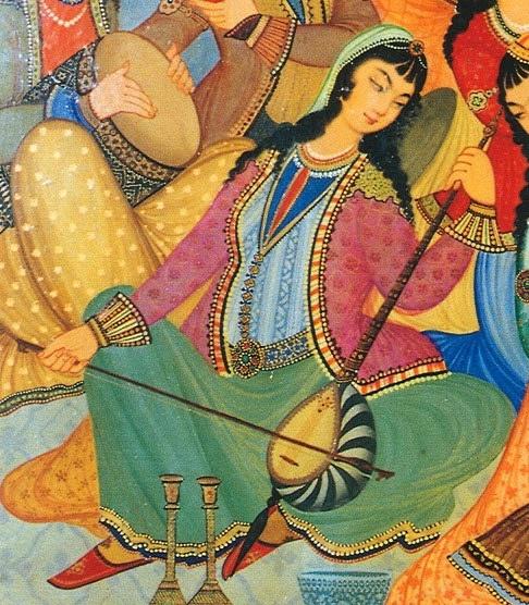 Persian miniatures XVIIe s. - Palace of 8 heavens, Ispahan, Iran - Joueuse de kamânche ; peinture du Palais Hasht-Behesht à Esfahan, 1669